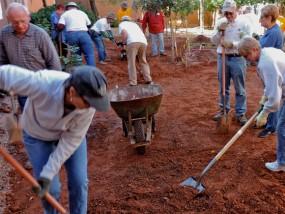 Mitzvah Day Volunteers break ground - November 17, 2014